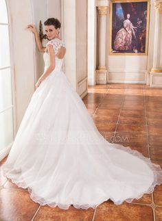 Ball-Gown Sweetheart Cathedral Train Organza Satin Wedding Dress With Lace Beading (002055082)