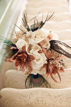 Elegante bouquet en tonos ocres.
