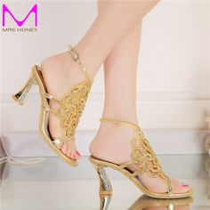 Plus Size 44 Bling Bling Gold Rhinestone Shoes Summer Open Toe Chunky Heel Wedding Shoes Ankle Strappy Party Prom Dancing Heels #Affiliate