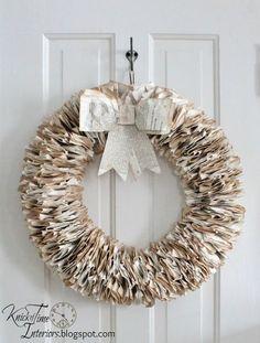 Book Page Wreath by http://knickoftimeinteriors.blogspot.com/