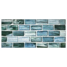 "Complete Tile Collection Zumi Glass Mosaic - Sea Spruce - Natural, 1"" x 2"" Brick Recycled Glass Mosaic, MI#: 038-G2-263-105, Color: Sea Spruce"