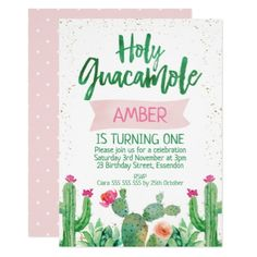 Fiesta Holy Guacamole Birthday Invitation - party gifts gift ideas diy customize