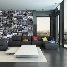 Ein Schwarz Eingerichtetes Wohnzimmer Mit Fotocollage Aus Weissen Fotos