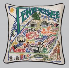 Tennessee State Pillow by Catstudio at Tabula Tua Tennessee Girls, East Tennessee, Tennessee Football, Nashville Tennessee, Black Pipe, Southern Charm, Southern Living, Southern Girls, Southern Belle
