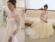 NEU Brautkleid Spitze Langarm Hochzeitskleid Brautkleider Abendkleid 2015
