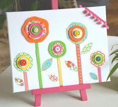 """Tableau textile déco enfant """"Fleurs de printemps"""""""