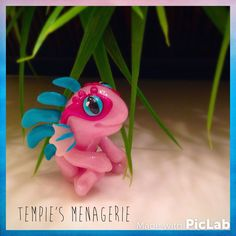 RESERVED Pink Baby Murloc World of Warcraft polymer clay figurine by TempiesMenagerie