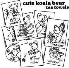 Aunt Martha's Koala Bear Tea Towels - Iron On Transfers. Pattern is printed with a single-color heat transfer ink on a GIANT 18x24 inch sheet of paper.  Transfe