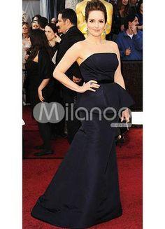 Dark Navy Satin Strapless A-line Tina Fey Oscar Dress. Train Length 20cm. See More Oscar Dresses at http://www.ourgreatshop.com/Oscar-Dresses-C905.aspx