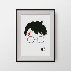 Harry Potter  -  PDF counted cross stitch pattern - Hogwarts - Glasses of Harry Potter, P075 by NataliNeedlework on Etsy