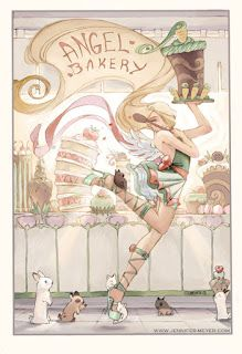 The Angel Bakery.  The angel baker entertains her cute bunnies and creates many lovely cakes.