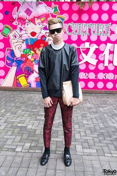 "19-year-old Yuto is a Bunka Fashion College student who we snapped in #Shinjuku. He's wearing an Issey Miyake top, H&M pants, Ambush ""POW!"" rings, and vintage fringed brogues. Check all of Yuto's pics here! #tokyofashion #streetsnaps"