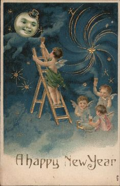 Divided Back Postcard A Happy New Year Angels & Cherubs Vintage Christmas Images, Victorian Christmas, Christmas Pictures, Vintage Images, Vintage Moon, Vintage Cards, Vintage Postcards, Vintage Ephemera, Merry Christmas