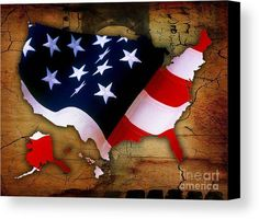 United States Of America Map Art Canvas Prints by Marvin Blaine.