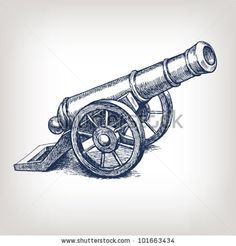 Vector ancient cannon vintage ink engraving illustration arm weapon hand drawn doodle sketch by HiSunnySky, via Shutterstock