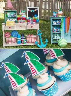Nautical Sailboat Birthday Party - love the colors! Lots of cute ideas!