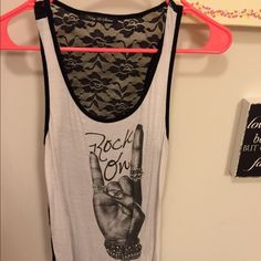 """Rock On Tank! Kohls Size tag cut out but medium. From Kohls, inside tag says """"King Saints"""". Little jewels on front, lace back! Kohls Tops Tank Tops"""