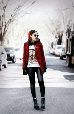 Rivers Of Babylon - LE HAPPY : LE HAPPY. White and black hoodie+vinyle pants+black plattform boots+red blazer+black tiger embroidery crossbody bag+sunglasses. Spring Casual Outfit 2017
