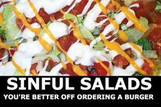 Salads are supposed to be healthy, but at many restaurants the salads are so full of fat, sugar, and salt that they are the worst thing on the menu! Here are the worst offenders. Taco Salad Recipes, Mexican Food Recipes, Mexican Meals, Think Food, Love Food, Great Recipes, Favorite Recipes, Low Carb Recipes, Healthy Recipes