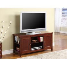 Kings Brand Walnut (Brown) Finish Wood TV Stand Entertainment Center With Storage