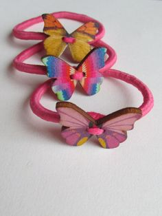 Butterfly Pony Tail Holder by Buttonnuthin on Etsy Little Pony, Hand Stitching, Ponytail, Barbie, Hair Accessories, Butterfly, Band, Metal, Cute