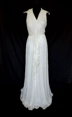 Vintage Style 20s 30s CREAM SILK WEDDING OCCASION DRESS Gown BRIDAL BRIDE 12 NWT