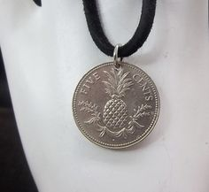 Pineapple Coin Necklace Bahamas 5 Cents Coin by AutumnWindsJewelry, $12.00