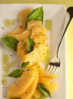 Melon Salad with Basil, Fresh Cracked Pepper and a drizzle of Olive Oil