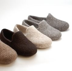 Felted wool slipper loafers beige eco slippers door WoolenClogs