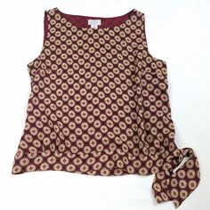 Ann Taylor LOFT Womens Tank Top Blouse Petite Size 14 Red Sleeveless Multi-Color #AnnTaylorLOFT #Blouse #Career