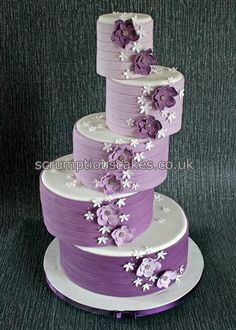 5 Tier Offset Shades of Purple Wedding Cake