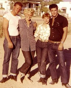 Great 50's photo, the guy in the black is hot! I really was born 50 years too late!