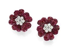 "Invisible set ruby and diamond ""pavot"" earrings by Van Cleef & Arpels, available at Simon Teakle."
