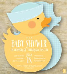 Custom Baby Shower Invitation  | Boy Rubber Ducky Personalized Die Cut Baby…