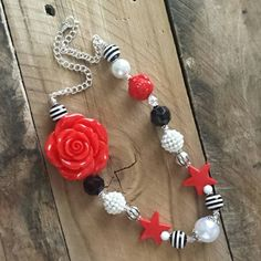 Girls Statement Necklace with red flower, black and white accents