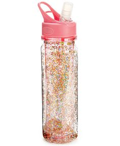 Now this is a water bottle with personality! This ban.do beauty holds 24 oz., has a removable mouthpiece and is double-walled (this reduces condensation! And did we mention the floating glitter Glitter Water Bottles, Cute Water Bottles, Glitter Wine, Drink Bottles, Glitter Uggs, Pink Glitter, Water Bottle Online, Best Water Bottle, Glitter Tumblr