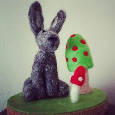 Needle felted hare and toadstool