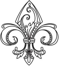 vintage fleur de lis urban threads unique and awesome Embroidery Designs, Vintage Embroidery, Embroidery Stitches, Hand Embroidery, Machine Embroidery, Urban Threads, Colouring Pages, Coloring Books, Lettering Design