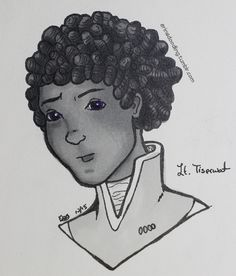 Inktober 11: Tiserwat From Ancillary Sword/Ancillary Mercy. I don't have any light purple ink things and I simply can't do grey scale with the baby lieutenant because her eye color was one of the major descriptors for her character and well there was that gem of a line in Ancillary Mercy about them too.