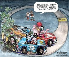 Horse Races | Cartoon by Matt Wuerker/POLITICO | http://www.politico.com/wuerker/2014/10/political-cartoons-october-2014/002055-029362.html