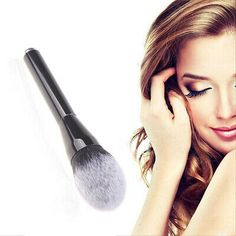 White tipped Cosmetic Makeup Flame Head Face Powder Blush Brush Foundation