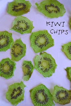 Kiwi Chips using a food dehydrator http://makethebestofeverything.com/2013/03/kiwi-chips.html | I apparently don't have one but maybe one day.