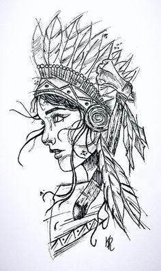 Feito por Kel C.ribeiro_tattooist – Mujer Y Salud Native American Drawing, Native American Tattoos, Native Tattoos, Warrior Tattoos, Tattoo Design Drawings, Tattoo Sketches, Drawing Sketches, Tattoo Designs, Flash Art Tattoos