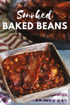 Smoked Baked Beans with Brown Sugar and Bacon These Smoked Baked Beans are perfect for your next summer BBQ! Loaded with bacon, brown sugar, and a slight jalapeno kick, they're a real crowd pleaser! Baked Bean Recipes, Grilled Chicken Recipes, Beans Recipes, Grilled Meat, Grilling Recipes, Gourmet Recipes, Healthy Recipes, Traeger Recipes, Grilling Ideas