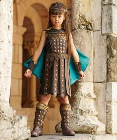 Girls dressed as this Roman warrior will be protected by padded armor and studded overlay, all on a sleeveless dress. A Wishcraft costume by Chasing Fireflies.