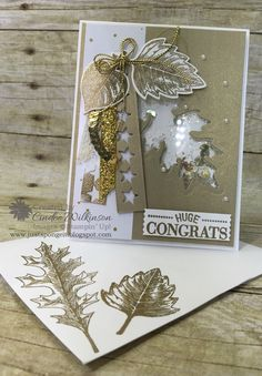 Cindee's gold & white shaker card: Vintage Leaves, Watercolor Wishes, Leaflets framelits, Washi Label punch, & more - all from Stampin' Up!