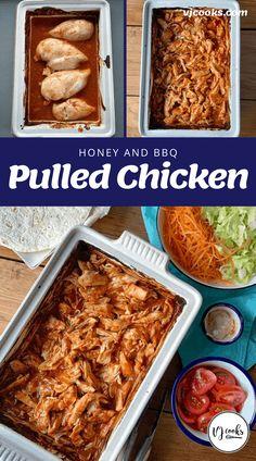 Pulled chicken Chicken Recipes, Chicken Meals, Honey Bbq, Pulled Chicken, Burger Buns, Vegetable Seasoning, Honey Recipes, Baked Chicken Breast
