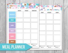 Weekly Meal Log Tracker - Daily Food Journal - BONUS: Free Weekly Meal Planner - Printable - M670816