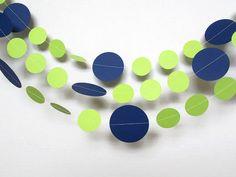 Navy Blue and Lime green Garland,Circle Garland,Birthday Garland,Wedding Garland,Baby Shower Garland,10 feet garland
