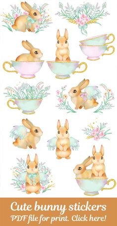 PRINTABLE PDF Bunny stickers Digital Watercolor planner party invitations scrapbooking crafting and decor Instant download Easter Bunny PRINTABLE cute bunny flower stickers are perfect for planner stickers, party invitations, scrapbooking, crafting and decor. Also perfect for Easter Bunny crafts